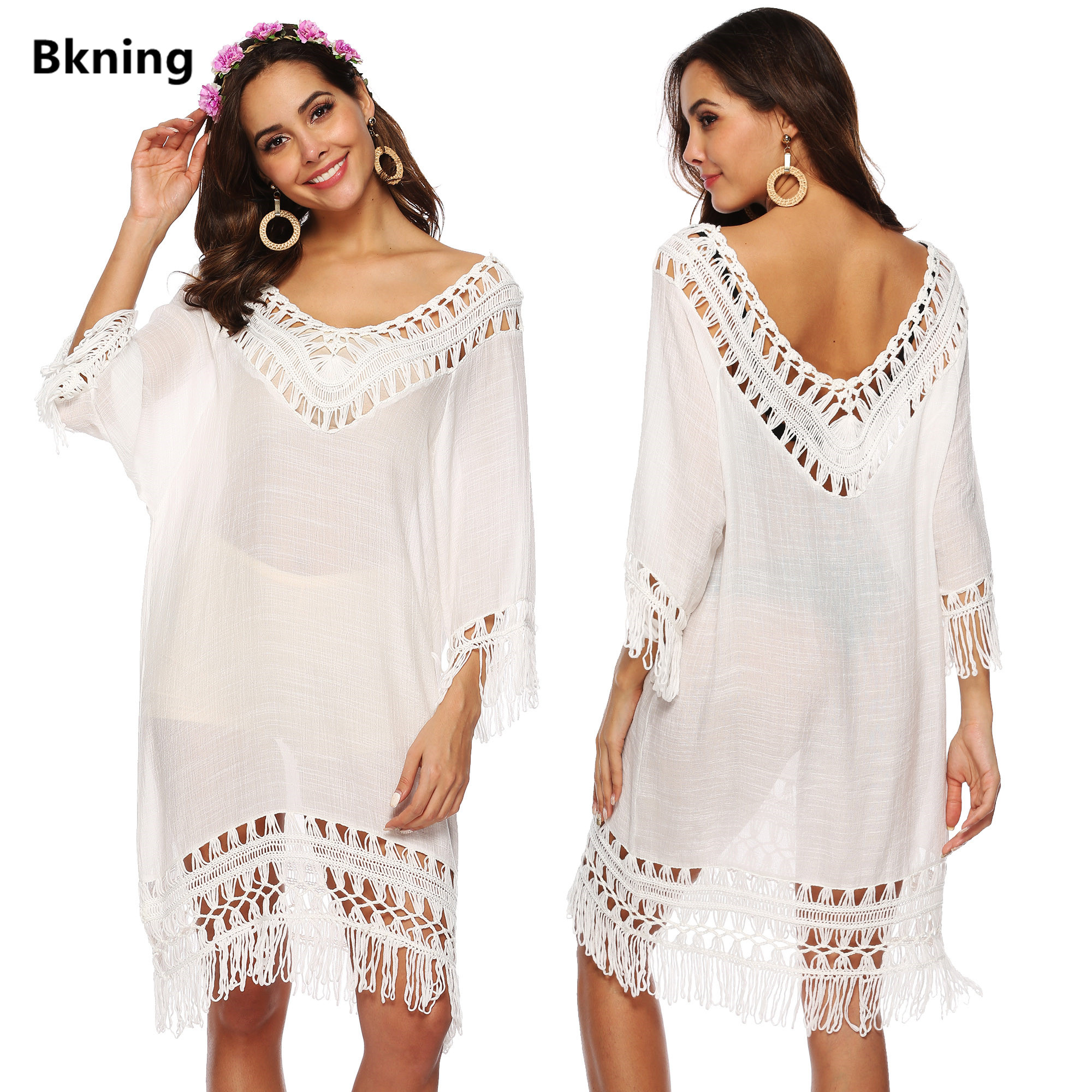 Tassel Beach Dress V Neck White Cover Up Swimsuit Bikini Tunic Ups Women Dresses Bathing Suit 2019 Summer Beachwear Short Sleeve
