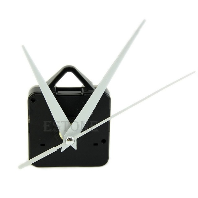Black Quartz Wall Clock White Hands Movement Mechanism DIY Repair Tool Parts Kit