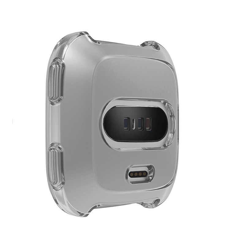 360 תואר הגנת כיסוי עבור Fitbit Versa להקת מקרה רך Silicoe TPU שעון מסגרת עבור Fit קצת Versa שעון כיסוי אבזרים