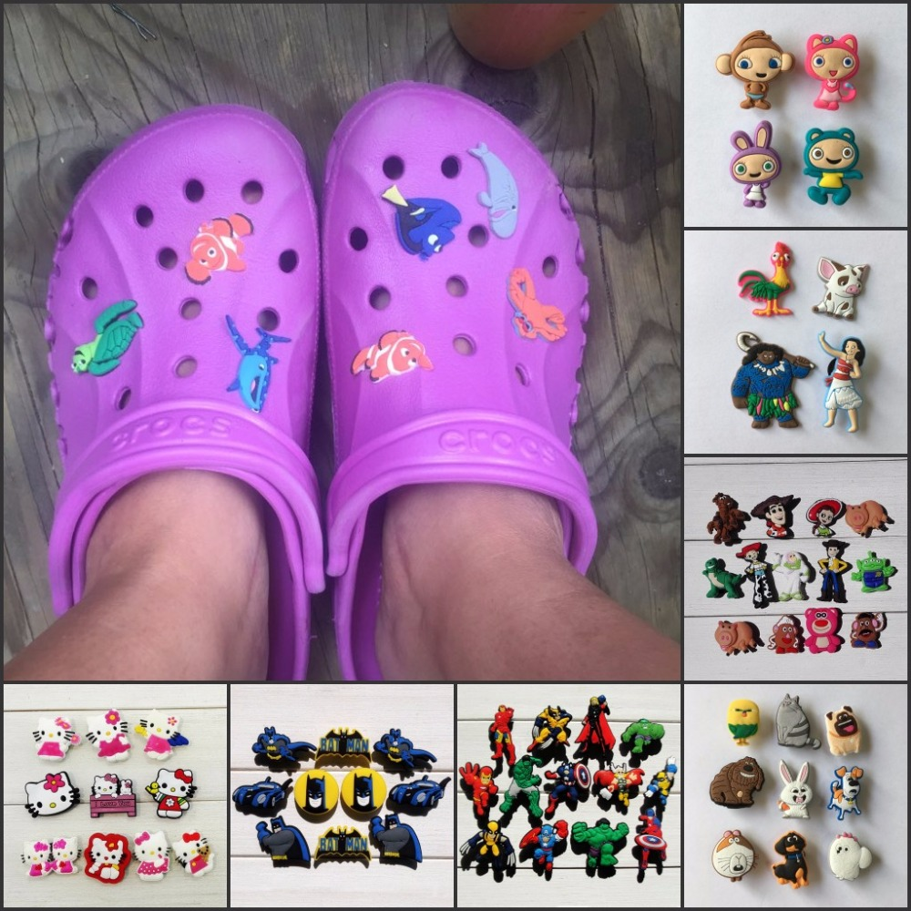 Mix Models,6-8pcs High Quality Cool Lovely Cartoon PVC shoe charms /shoe accessories for Wristbands,Fit cor croc jibz,Party Gift