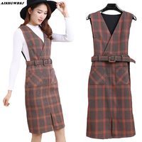 Autumn New Korean Style Plaid Overalls Women Winter Slim Tank Sleeveless Dress Ladies V Neck Fitness