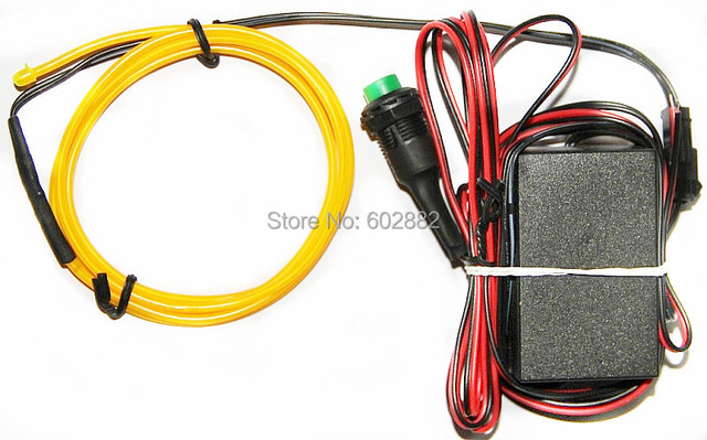 10 Meters EL Wires  With DC12V Inverter of Push-Button +Free Shipping (yellow)