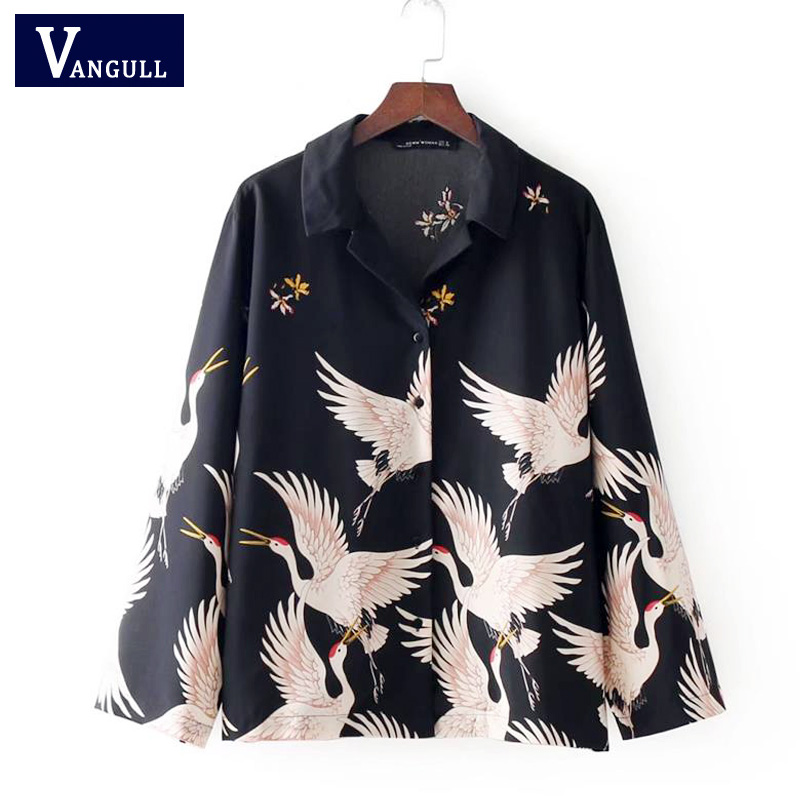 Vangull women Crane print loose shirt vinage long sleeve turn down collar blouse oversized ladies casual tops blusas