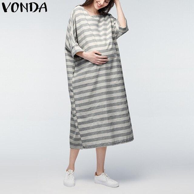 Vonda más Maternidad ropa 2018 casual flojo Maxi vestido largo mujeres  pregant manga Batwing rayas embarazo 9f619c9f9600