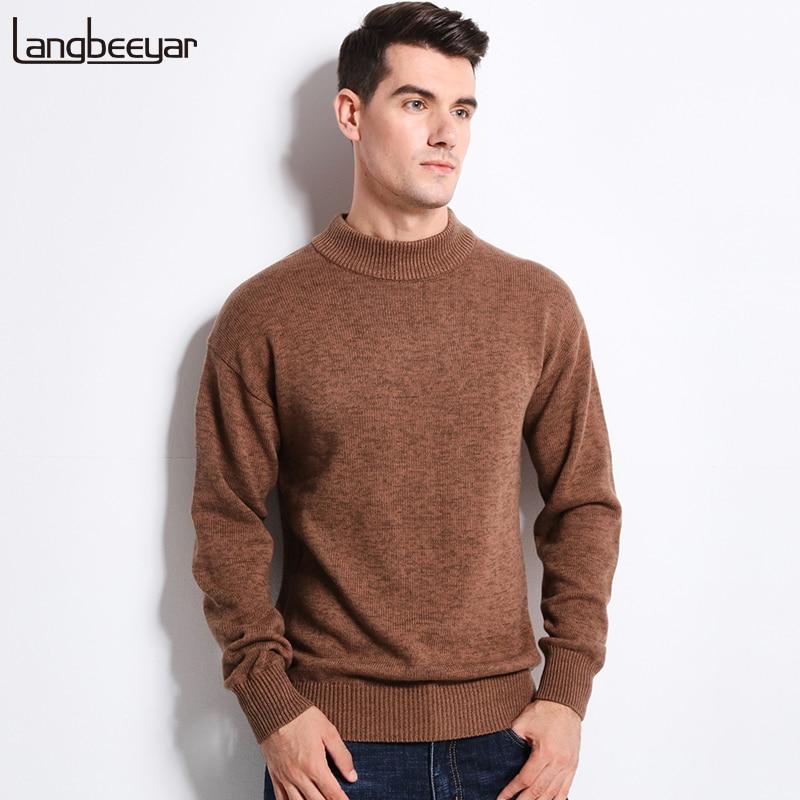 Thick Warm New Autumn Winter Sweater Men Fashion Half Turtleneck Slim Fit Winter Pullover Men 100% Cotton Knitted Sweater Men