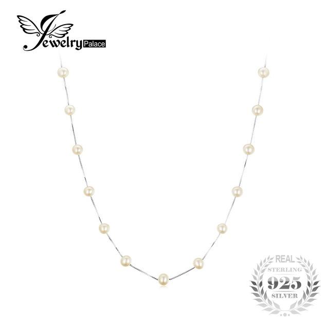 Jewelrypalace rodada caixa de 6.5mm de água doce pérolas cultivadas strand beads colar gargantilha cadeia 925 de prata esterlina 18 polegadas