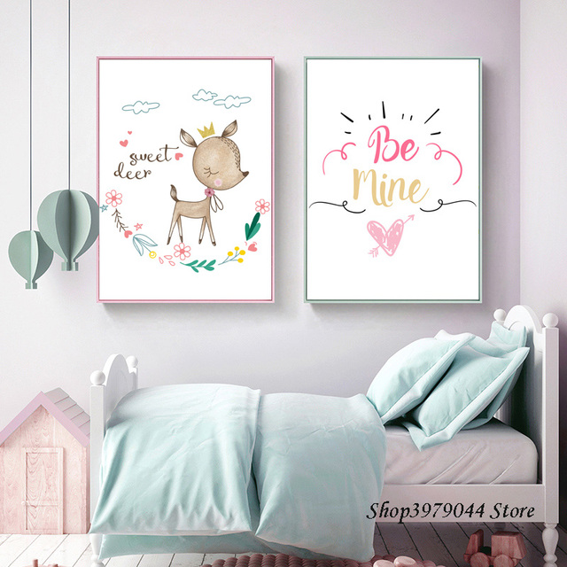Kids Bedroom Decor Wall Art Print Cartoon Poster Nordic Decoration Home  Cute Deer Canvas Painting Baby Room Deco Maison Unframed