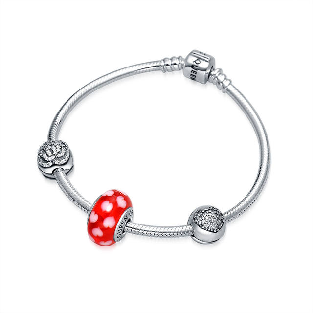 QUEEN OF HEART Fine Jewelry High End 925 Sterling Silver Charm Bracelet Red Heart Charm Bead Bracelet Best Gift for Mother N1