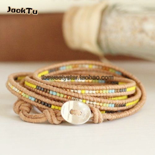 2017 fashion yellow seed beads mixed beige leather wrap bracelet