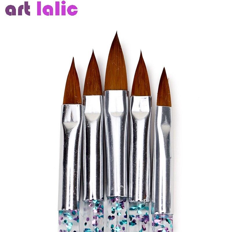 5Pcs Nail Art Brush Tools Set Crystal Handle Acrylic UV Gel Glitter Drawing Painting Brushes Carving Flower Pens Nails Tools