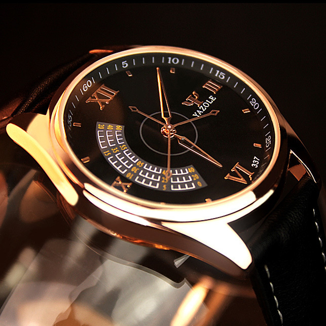 YAZOLE Men's Fashion Sport Stainless Steel Case Leather Band Quartz Analog Wrist Watch Mens Watches Top Brand Luxury Wristwatch