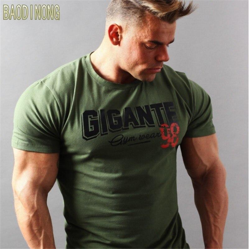 Marca Mens muscle bodybuilding fitness hombres tops algodón singlets más tamaño grande camiseta manga corta Camiseta