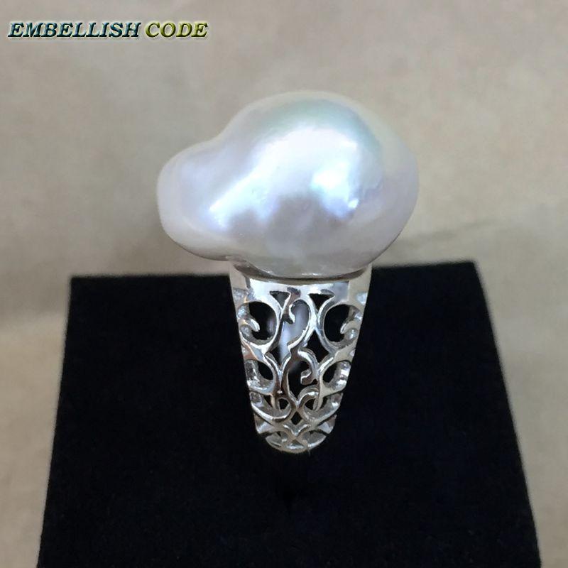 Prilagodljiva velikost Velikost baročnega bisera 925 srebrni prstan - Modni nakit - Fotografija 6