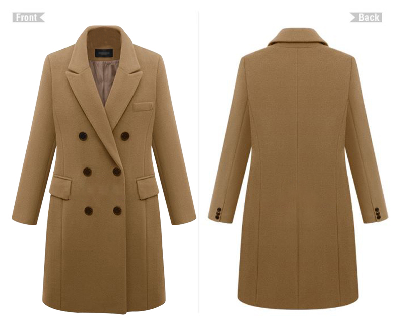 2016 European Women Autumn Winter Coat High Quality Woolen Coat Solid Color Elegant Casual Wool Big Yards Coat Plus Size 5XL (14)