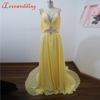 Real Image Yellow Long Prom Dresses Sleeveless Scoop Neck Chiffon With Beads Court Train Women Special