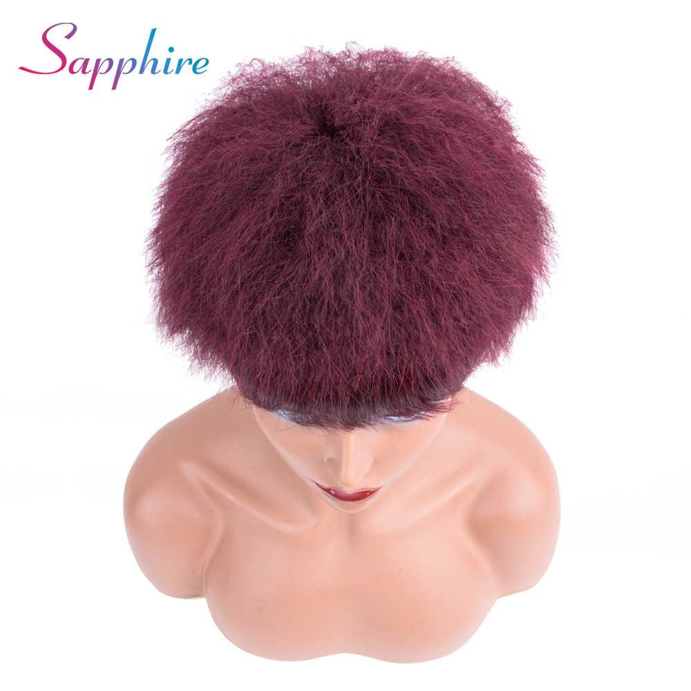 Сапфировые волосы короткие человеческие волосы парики с ребенком заколка для волос парик бразильский Боб яки прямые волосы Remy для женщин натуральный цвет