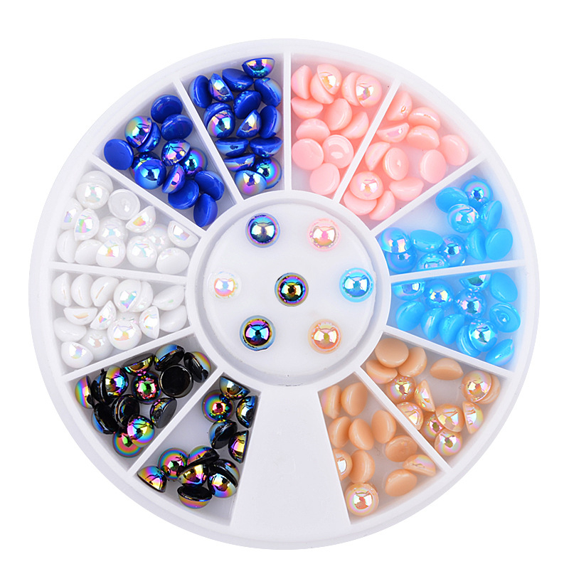 DIY Nail Art Decorations AB Colours Resin Semicircle Pearl Wheel Nail Glitter Rhinestones Manicure tools