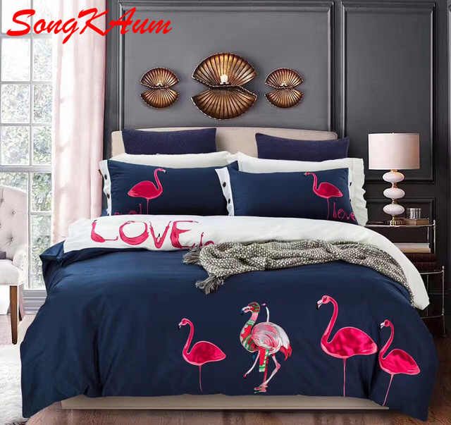 2018 New 100 Cotton Cartoon Flamingo Bedding Set Cute Ball Bed Bedclothes Duvet Cover Sheet Pillowcase Queen King 4pcs