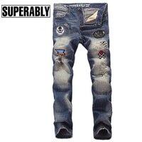 European American Punk Men`s Jeans Youth Badges Spliced Designer Biker Jeans Men Blue Color Denim Destroyed Ripped Jeans Pants