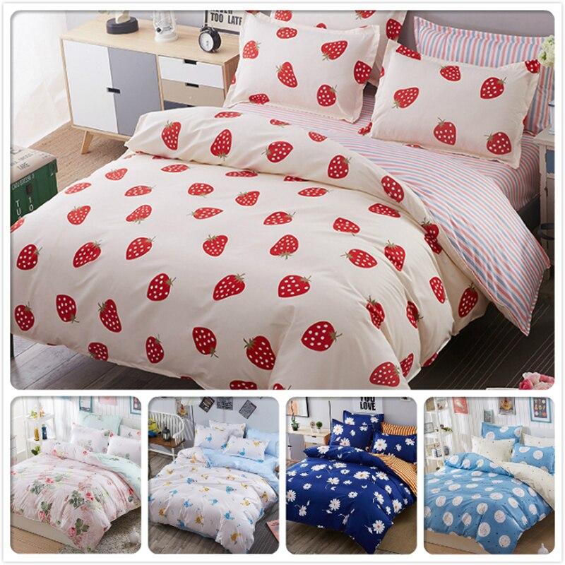 Đỏ Hồng Trái Cây Việt Quất Pattern In AB Bên Duvet Cover 3/4 pcs Bedding Set Kids Bông Khăn Trải Giường Đầy Đủ Vua Nữ Hoàng Duy Nhất kích thước