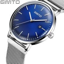 GIMTO New Watches Mens Quartz Watch Stainless Steel Mesh Band Slim Men Silver Watch Men Sports Wristwatch Relogio Masculino +Box цена