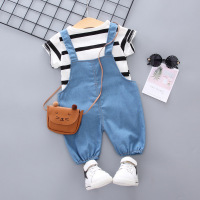 Boy Cute Set Striped Top + Soft Denim Strap 1 3 Year Old Baby Girl Casual Two Piece Set Toddler Kids Clothes Baby Boy Outfit