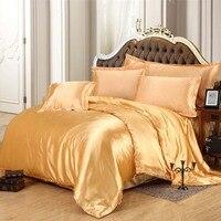 New Arrival 4pcs Silk Bedding Set Bed Linen Bedclothes Bed Sheet Duvet Cover Textile Printed Black
