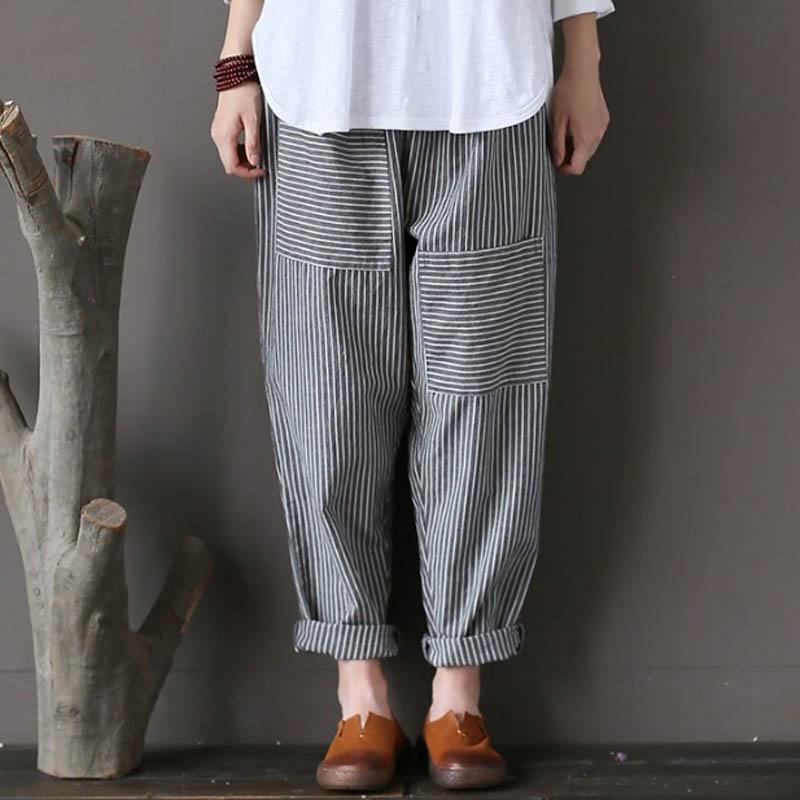 Stylish Women Trousers Celmia 2018 Elastic Waist Vertical Stripe Pockets Full-Length Pantalon Office Ladies Autumn Cotton Pants