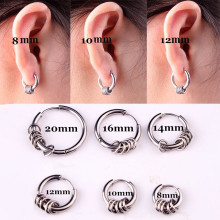 Fashion Pria Wanita Punk Lingkaran Hoop Pendientes Perak Emas Hitam Titanium Baja Kecil Lingkaran Charms Hoop Huggie Earrings Jewelry