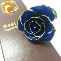 999 Gold Plated Rose With Blue Color Birthday Valentine's Day Gift Collection Blue 24k Gold Dipped Rose With Nice Gift Box