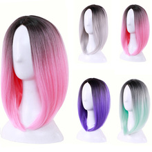 10inch Synthetic Hair Two Tone Ombre Short Bob Straight Wig Cosplay Wigs For Women Heat Resistant Fiber стоимость