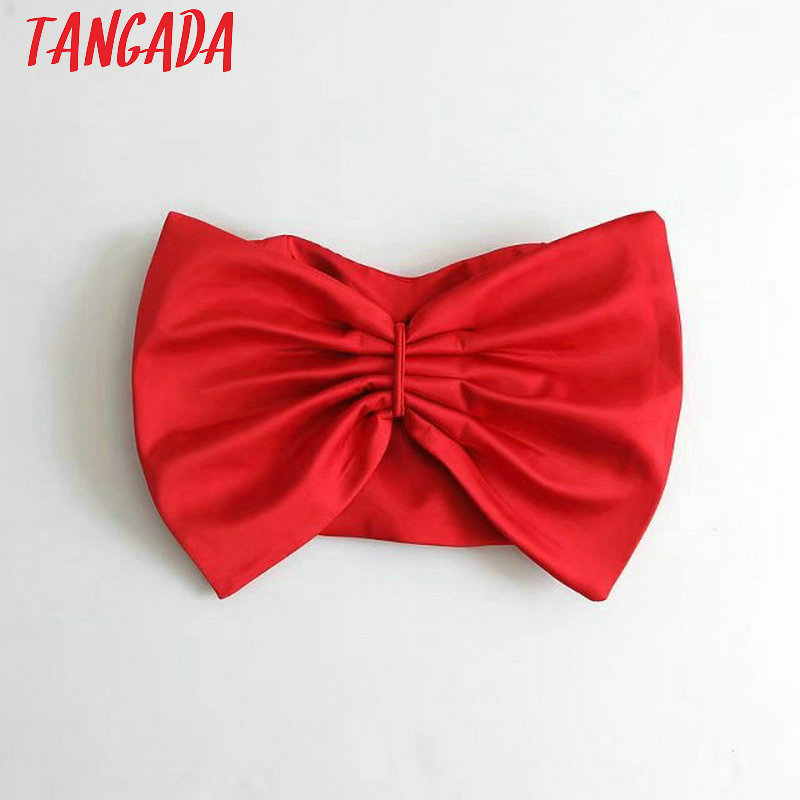 Tangada Fashion Women Solid Tops Sexy Crop Stretch Bow Backless Camisole Short Tops 2018 Ladies Camis DT28
