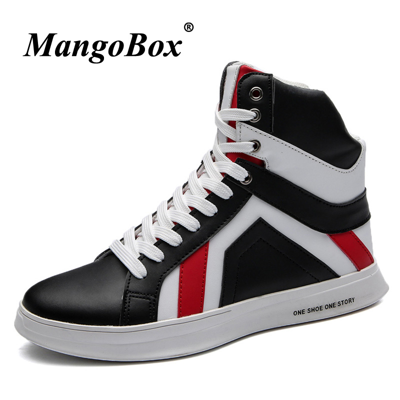 Autumn Winter Men Shoes Pu Leather Cool Men Boots Ankle White Black High Top Footwear Men Comfortable Male Fashion Walking Boots new fashion boots autumn cool