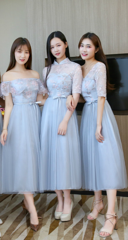 Blue Grey Embroidery Sexy Dress  Bridesmaids Dresses For Women  Wedding Party  Midi Dress Back Of Bandage