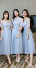Blue Grey Embroidery Sexy Dress  Bridesmaids Dresses for Women  Wedding Party  Midi Dress Back of Bandage midi dress bridesmaids dresses elegant woman dresses for party and wedding grey color dress sleeveless back of bandage