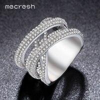 Mecresh серебро Цвет x Свадебные Кольца для Для женщин Band Micro кубический циркон проложить серебряный Цвет Bague Роковой anillos jz024