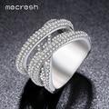 Mecresh Cor Prata X Anéis de Casamento Para As Mulheres Banda Micro Pave Cubic Zircon Branco Banhado A Ouro Anillos Bague Femme JZ024