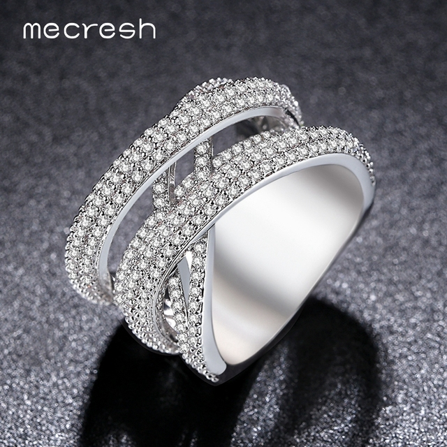Mecresh Silver Color X Wedding Rings For Women Band Micro Cubic Zircon Pave White Gold Plated Bague Femme Anillos JZ024