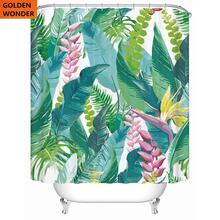 цены Leaf Thickened Polyester Waterproof Shower Curtain Semi Shading Tropical Leaves Bathroom Curtain
