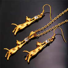 Cute Cat Necklace And Earring Set Jewelry For Women
