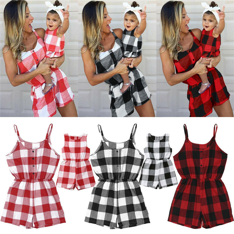 Summer Family Matching Clothes Women Girl Sleeveless Plaid Bodysuit Jumpsuit