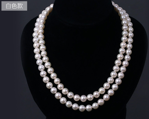 925s 2 rows 7-8mm south sea white round pearl necklace 1819>free shipping925s 2 rows 7-8mm south sea white round pearl necklace 1819>free shipping