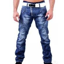 Lässige jeans homme 2017 neue außenhandel männer jeans waschen tragen weiße mens patchwork jeans hosen solide klassische demin hosen