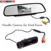 Koorinwoo 2in1 Parking Assistance Car rearview camera button Trunk Handle For Ford/focus 2 3 Hatchback Sedan Car mirror Monitor