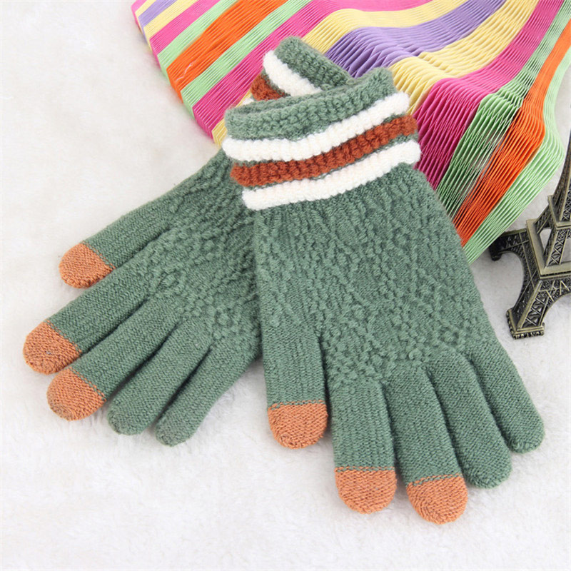 cd3d860f4 ... Winter Knitted Gloves Women Touch Screen Gloves Female Mittens Elk Keep  Warm Female Winter Full Finger ...