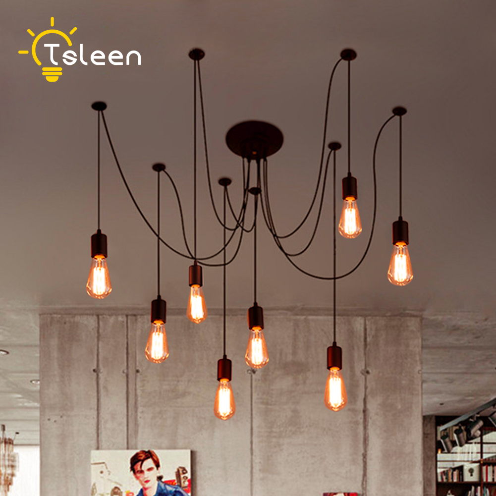 TSLEEN Free Shipping! E27 220V E26 LED Retro Pendant Lights Multiple Adjustable Loft Fixture Lighting+Edison Lamps Bulb AC110V tsleen free shipping vintage loft nordic classic e27 e26 led retro edison bulb pendant lights ceiling golden light fixtures