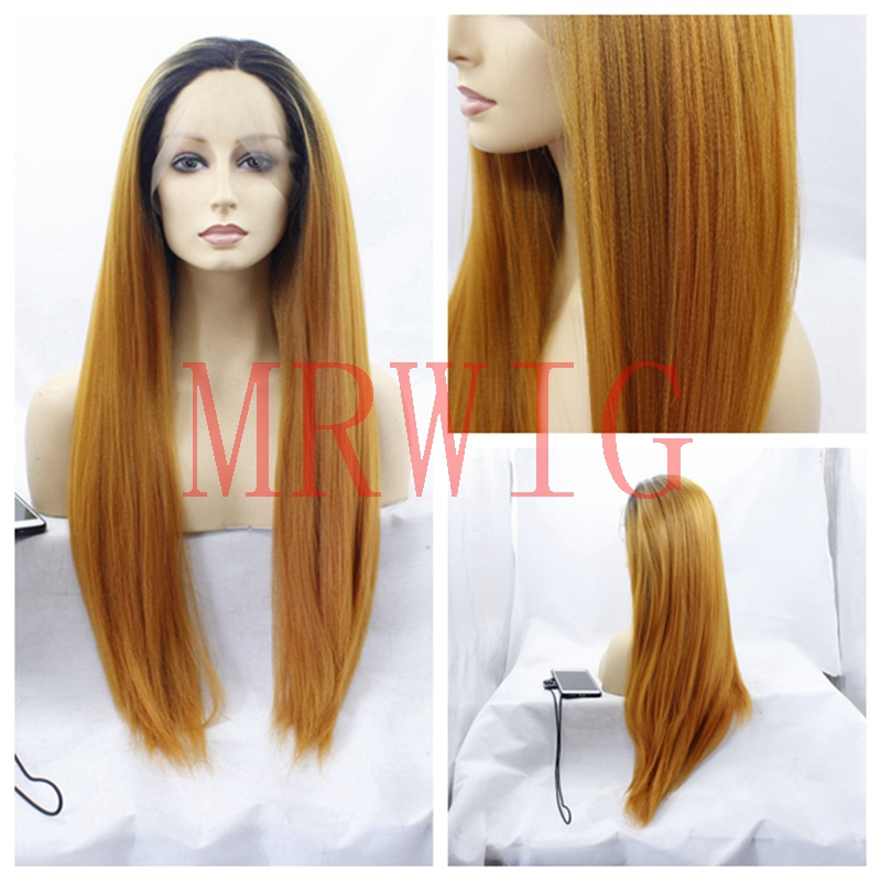 MRWIG middle part real hair long yaki straight front lace wig short dark roots 26inch 150% 330g for african american woman