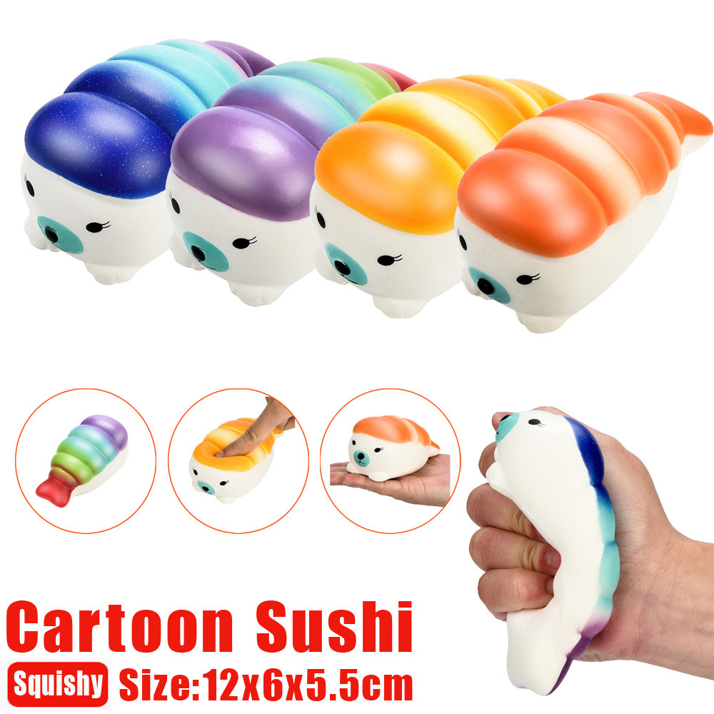 Multi styles of Squishy Toys 12cm Squishy Jumbo Sushi Scented Charm Slow Rising Squeeze Stress Reliever Toy 2018