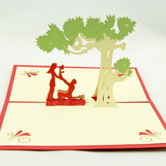 Love proposal under the tree greeting card /3D  card pop up  card/ Love valentine's card customize Free shipping l112 proposal in paris