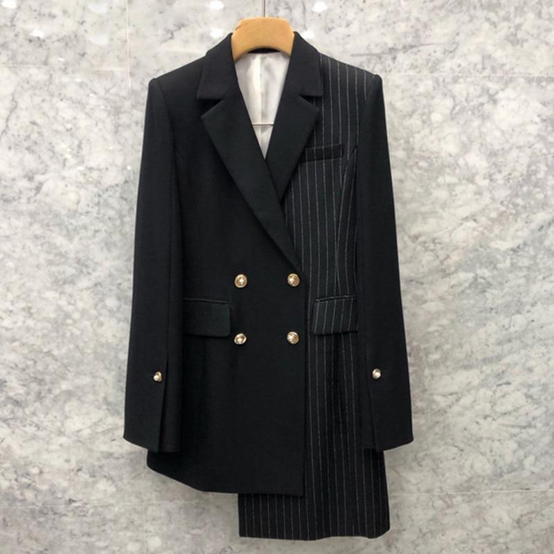 Blazer Irrégulière Veste 2019 De Noir Manteau Femmes Costume Mode Couture Nouvelle Sac Kelly Rayures Petit Asymétrique wx0qx4av